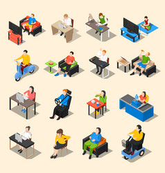 sedentary life icon set vector image