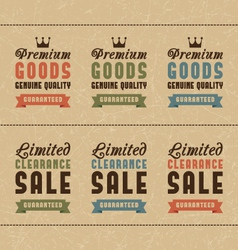 Set of discount sale and quality labels vector