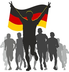 Athlete with the germany flag at the finish vector