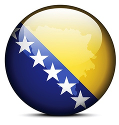 Map on flag button of bosnia and herzegovina vector