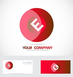 Letter e red circle logo vector