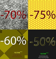 75 60 50 icon set of percent discount on abstract vector