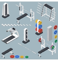 Athletic accessories for fitness center isometric vector