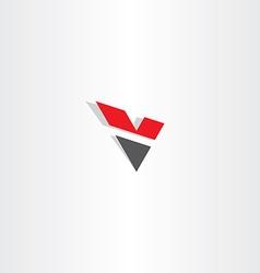 red black letter v logo logotype v icon vector image