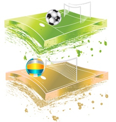 Football field and volleyball field vector