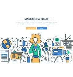 Mass media today - line design website header vector