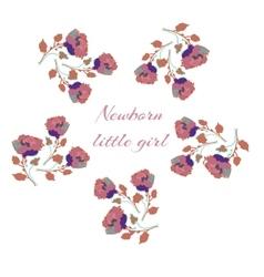 Card for newborn baby girl roses frame vector