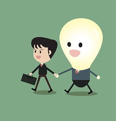 Businessman and bulb man walk to together vector