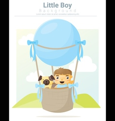 A little boy and his dog riding a hot air balloon vector image
