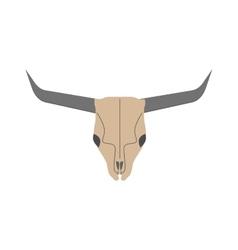 Animal head skull of wild bull flat vector
