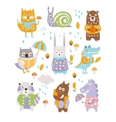 Animal woodland autumn set vector