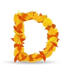 autumn leaves font letter D vector image