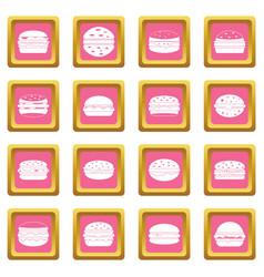 Burger icons pink vector