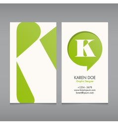 Business card template letter K vector image vector image