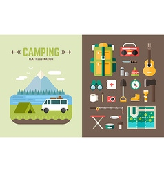 Camping concept set of and icons in flat design vector