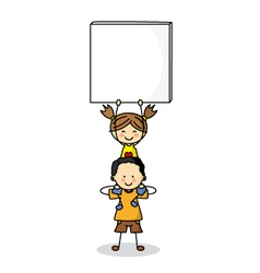 children with Blank Signs vector image vector image
