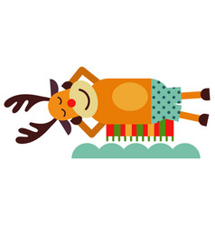 christmas cute reindeer haracter new year vector image vector image