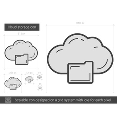 Cloud storage line icon vector