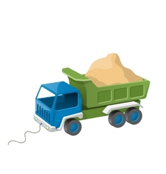 Colorful dump truck toy with sand vector