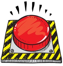 doodle button big red vector image