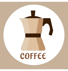 Flat beige coffee maker icon vector image