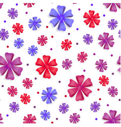 Flower bows seamless pattern cute bright bowknots vector