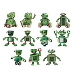 Green robots in different actions vector image vector image