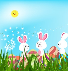 Happy easter eggs and bunny background with white vector