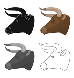 Head of bull icon in cartoon style isolated on vector