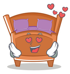 In love cute bed character cartoon vector
