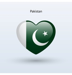Love pakistan symbol heart flag icon vector