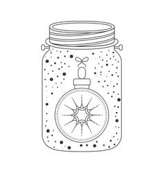 Mason jar with christmas decoration icon inside vector
