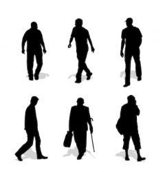 men walking silhouettes vector image