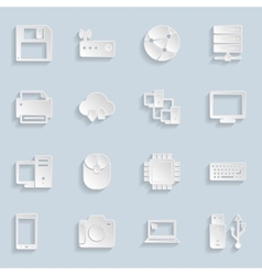 Paper Technology Icons Set vector image vector image