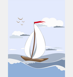 Sailboat sails on the waves with white sails with vector