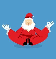 Santa meditating christmas yoga status of nirvana vector