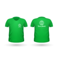 Save planet t-shirt front and back view vector
