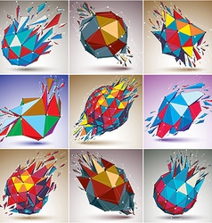 Set of abstract colorful low poly wrecked objects vector