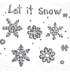 Set of doodle snowflakes Let it snow vector image vector image