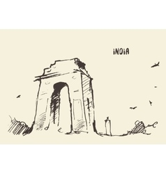 Sketch india gate new delhi vector