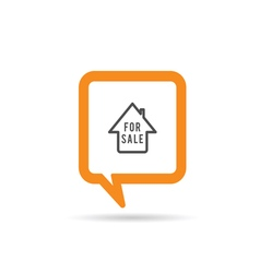 square orange speech bubble with house sale icon vector image