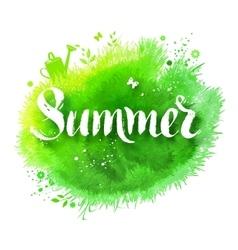 Summer word grunge lettering vector image