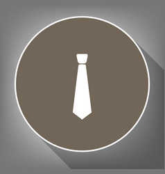 tie sign white icon on brown vector image