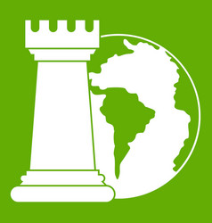 world planet and chess rook icon green vector image