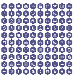 100 vogue icons hexagon purple vector