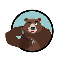 Bear thumbs up and winks all well grizzlies signs vector