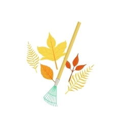 Rake and fallen leaves as autumn attribute vector