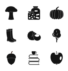 Autumn weather icons set simple style vector