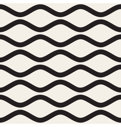 Seamless black and white horizontal wavy vector