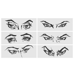 Set of female eyes vector image